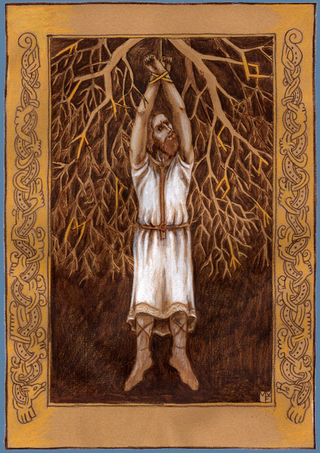 Odinn's  Self-Sacrifice on Yggdrasil sketch by Madeline von Foerster
